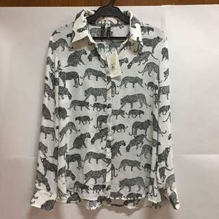 Brand New Mango Animal Printed Button Down with Tag