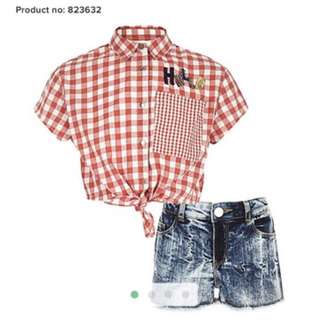 BNIB River island girls crop gingham top and denim shorts