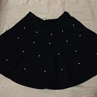White Pearls Flare Skirt
