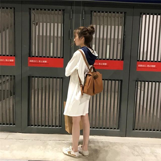 韓版簡約時尚雙肩包大容量休閒背包學生女包2way❣️送毛球噢