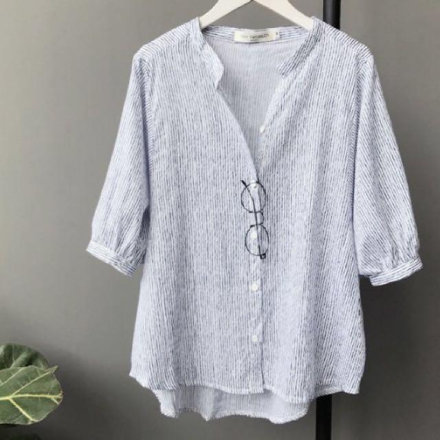 小清新五分直條紋寬鬆蝙蝠袖襯衫