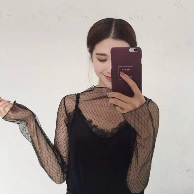 黑色格子網紗透視衣(大尺碼)✅