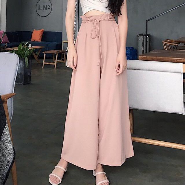 氣質繫帶垂墜寬褲(粉色)