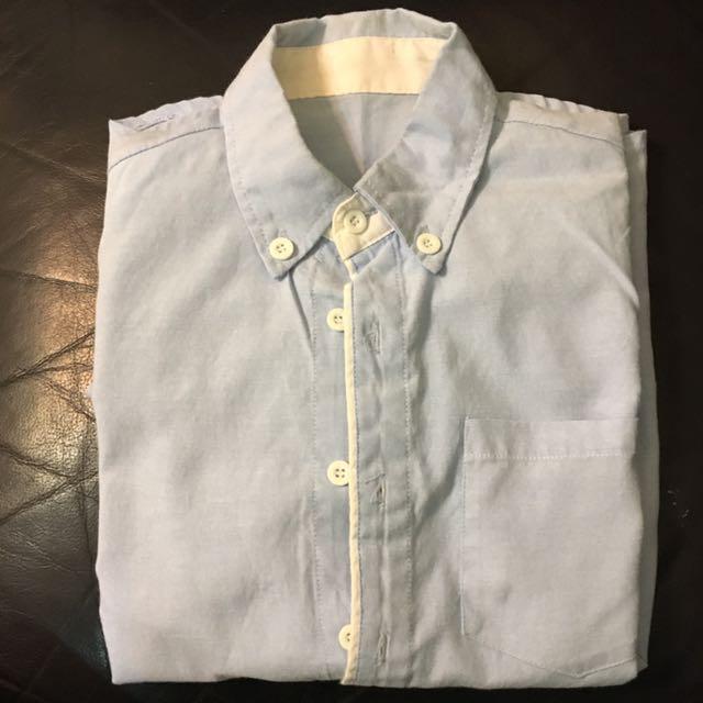 韓版 藍色長袖襯衫