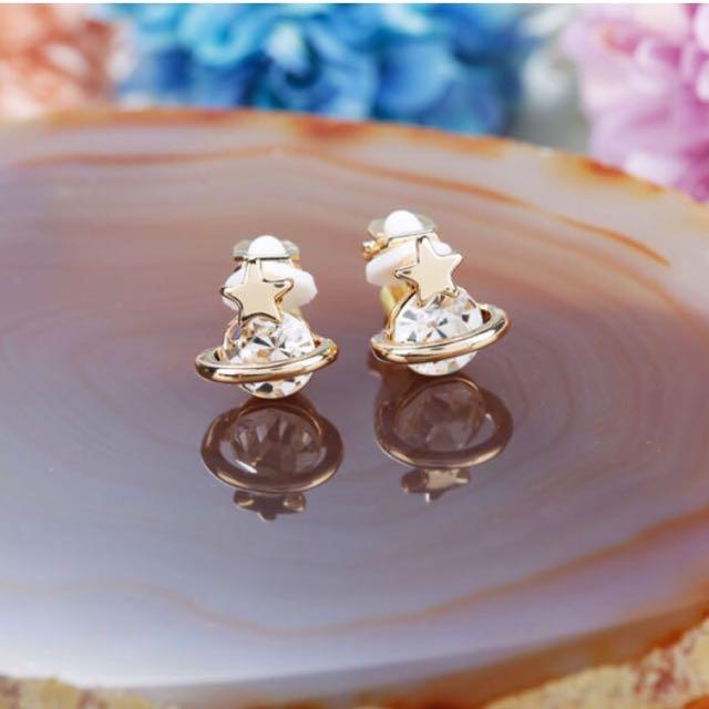 全新 韓系 小行星 夾式耳環 白色款