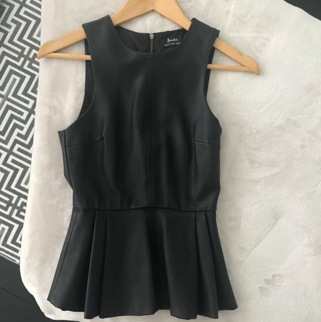 BARDOT leather-look peplum top