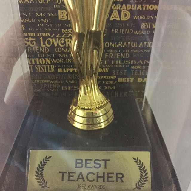 Best Teacher Gold Trophy Design Craft Others On Carousell