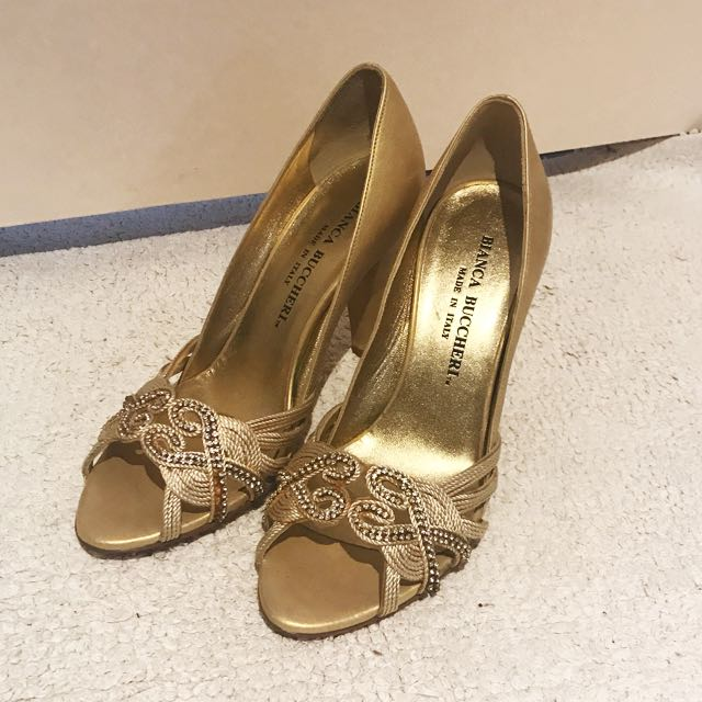 Bianca Buccheri Gold Peep Toe