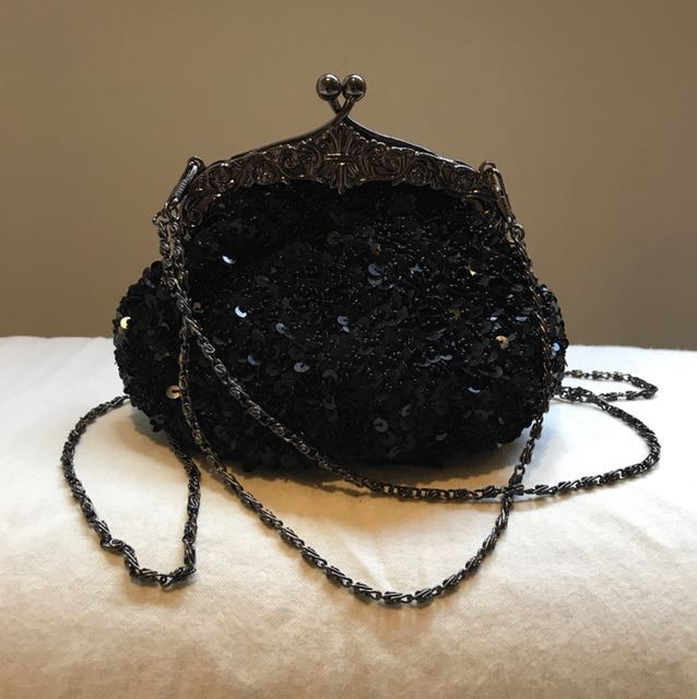 Black Sequin and Beaded evening clutch
