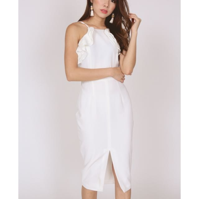 BNWT MDS Ruffle halter dress in white cd2392a1c
