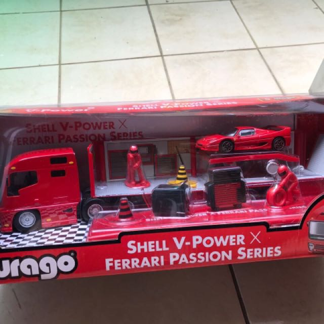 burago shell vpower ferrari truk