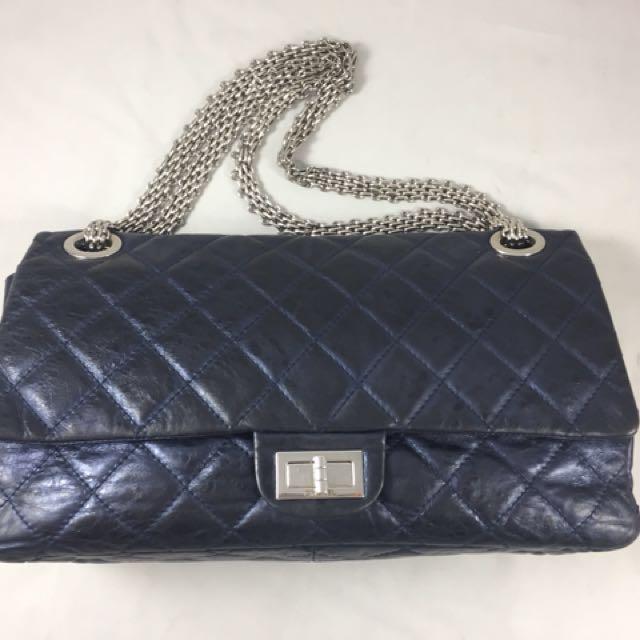 e1bf7de30dd60d Chanel reissue 228 metallic navy blue, Luxury, Bags & Wallets on Carousell