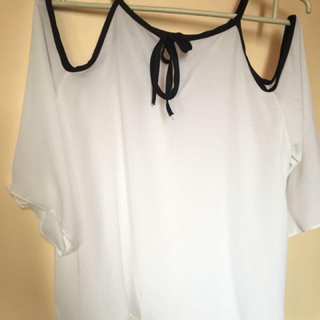 Chiffon white Top blouse 👚