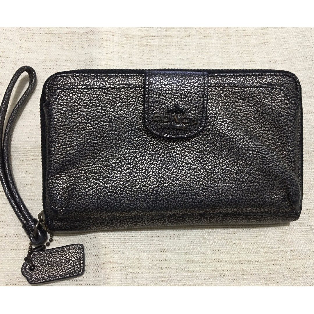 COACH Metallic Leather Phone Wallet