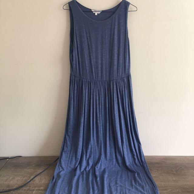 Cotton stretch knit maxi dress with slit