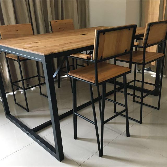 Custom US Pine Wood & Steel High Table