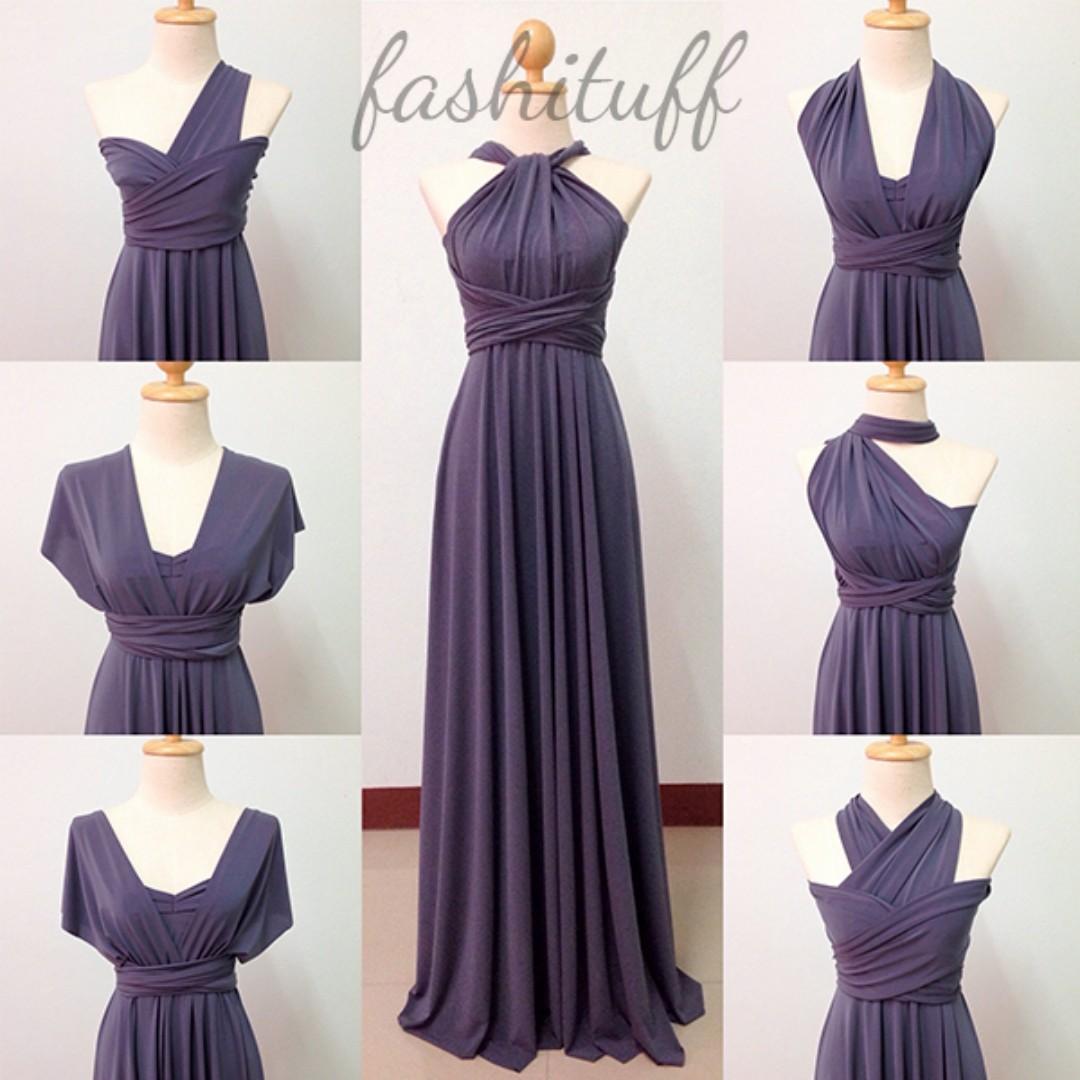Dark Gray Infinity Dress / Convertible Wrap Maxi Dress, Preloved ...