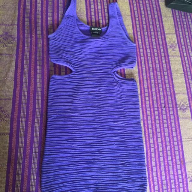 Dress violet Bebe pengang kanan kiri motif bolong