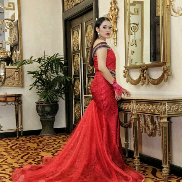 Evening dress red mix lurik ATBM