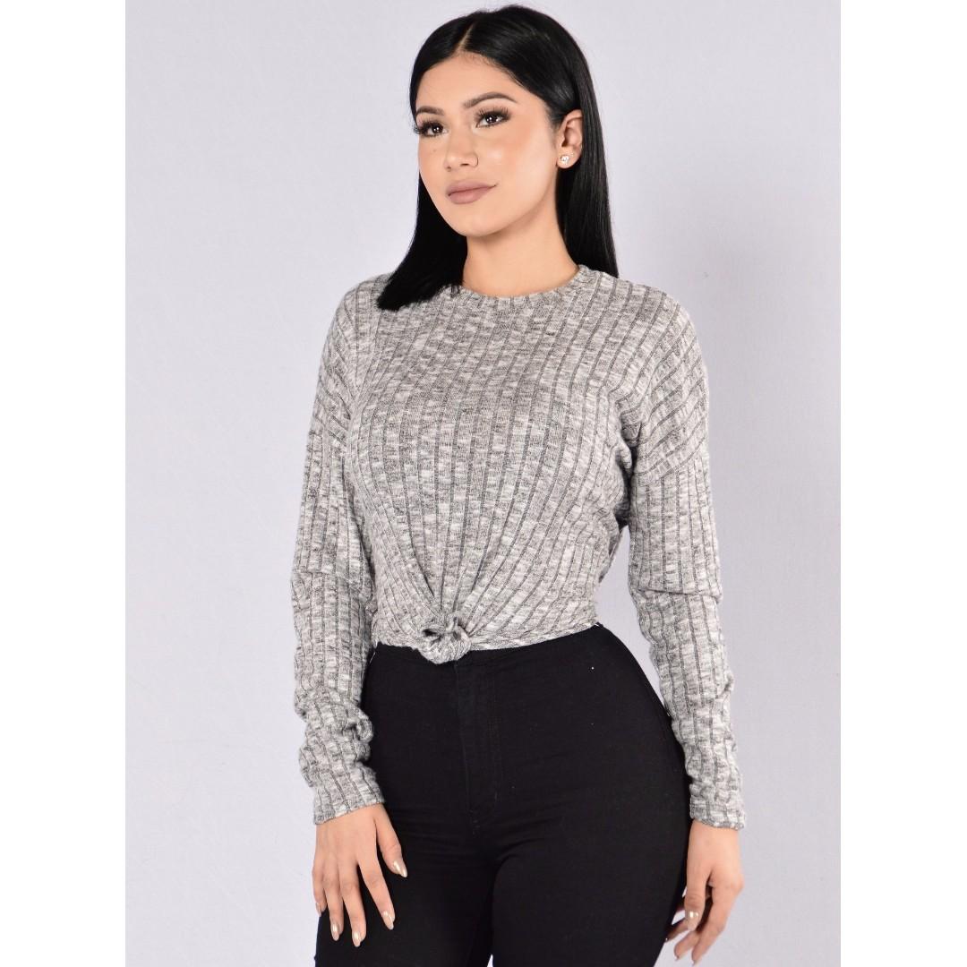 Fashion Nova Consideration Top - Grey