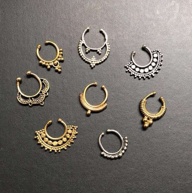 Faux Septum Rings in Brass and Silver