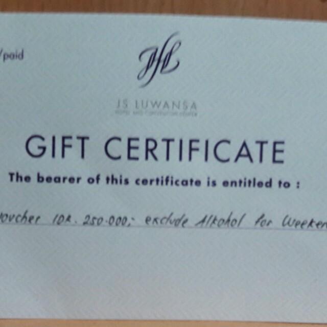 F&B voucher at JS Luwansa Htl Rp.250.000