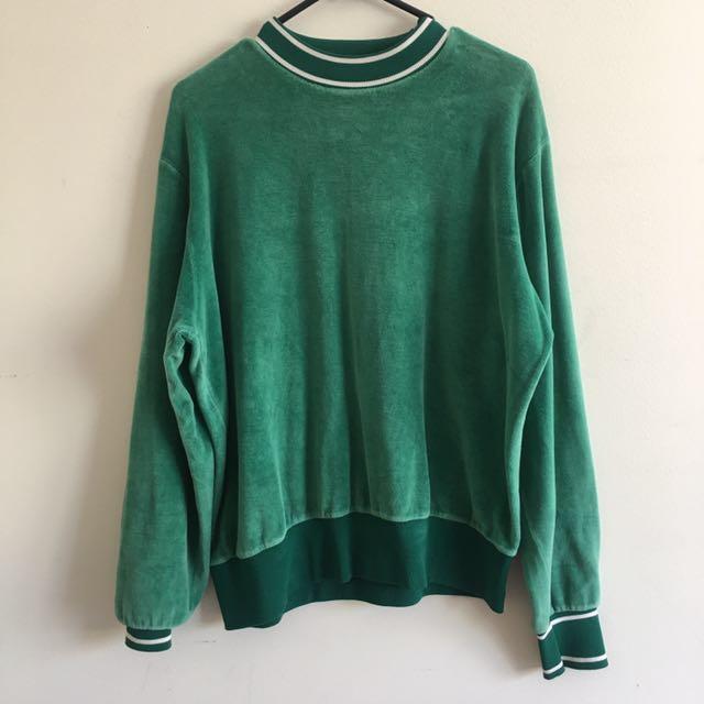 Green velvet retro top