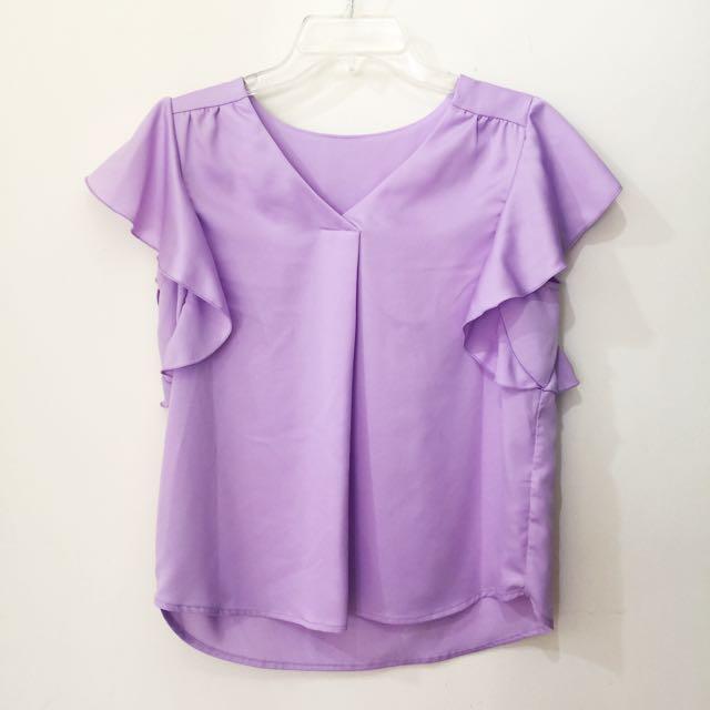 GU雪紡紫色上衣 M號