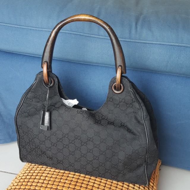 Gucci Gg Canvas Wooden Handle Bag