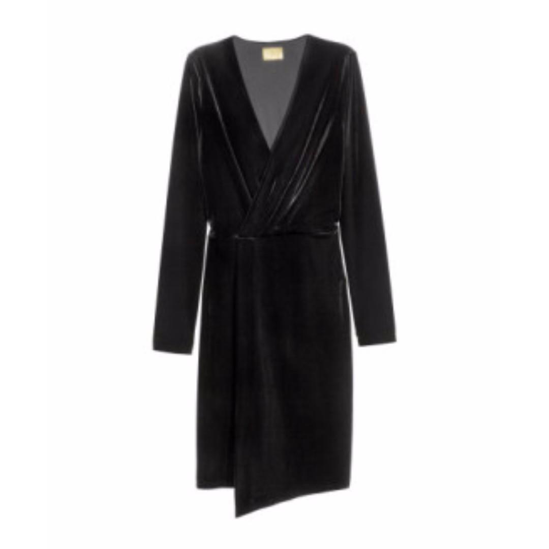 H&M - Black V-Neck Velour Wrap Dress