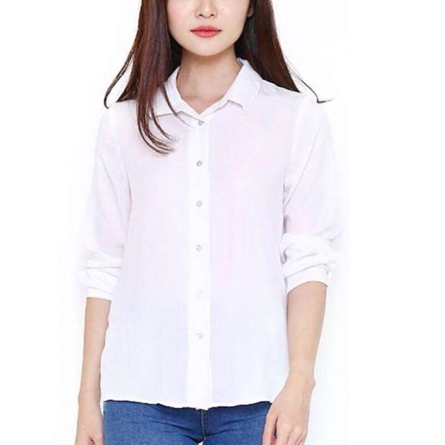 H&M Silk Blouse White New *ori #AkuBisaJualPreloved