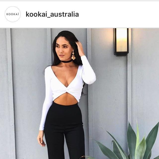 Kookai Twist Crop Top - blue