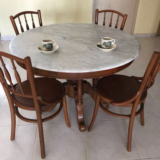 Kopitiam Dining Set Marble Table With 6 Chairs Furniture Tables Chairs On Carousell