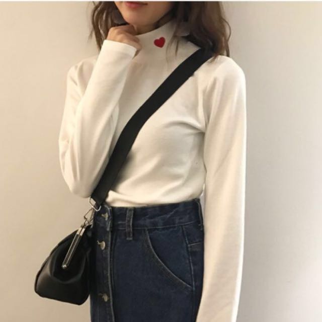 Korean Styled Turtleneck Sweater With Red Heart