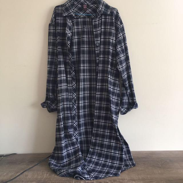 Long line cotton flannel top