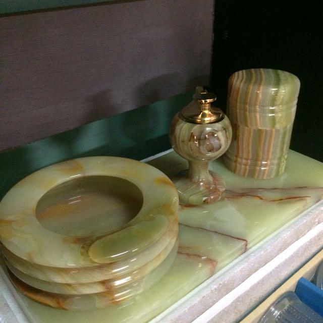 Marble ashtray set