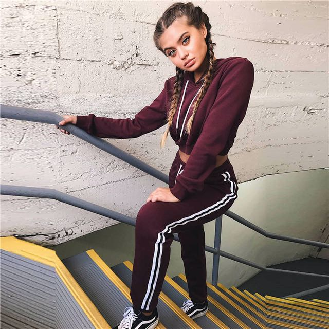 Maroon crop top jacket and jogger pants