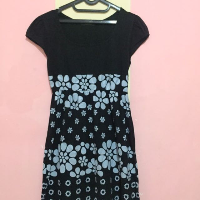 Mini Dress Flowery Black