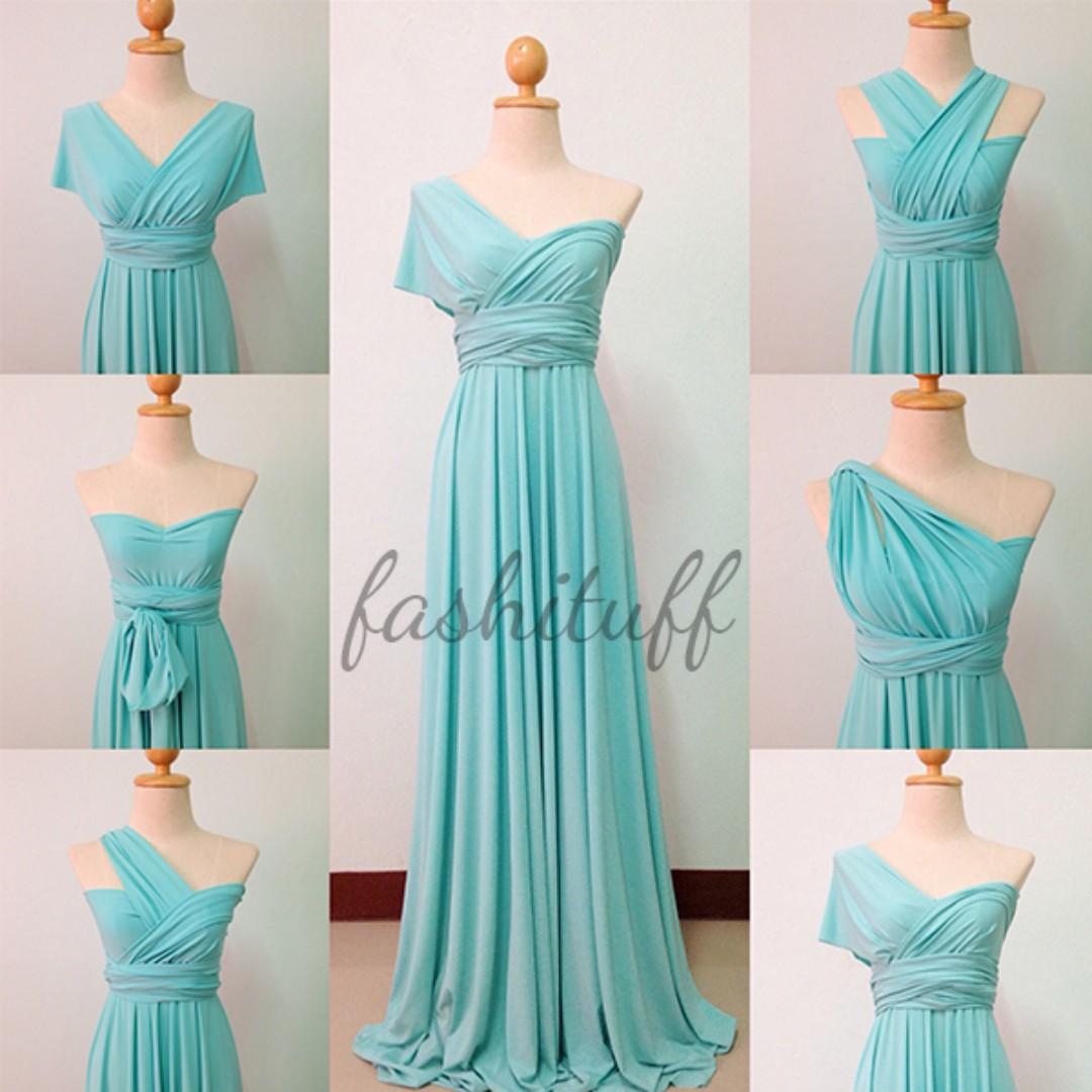 Mint Green Infinity Dress / Convertible Wrap Maxi Dress, Preloved ...