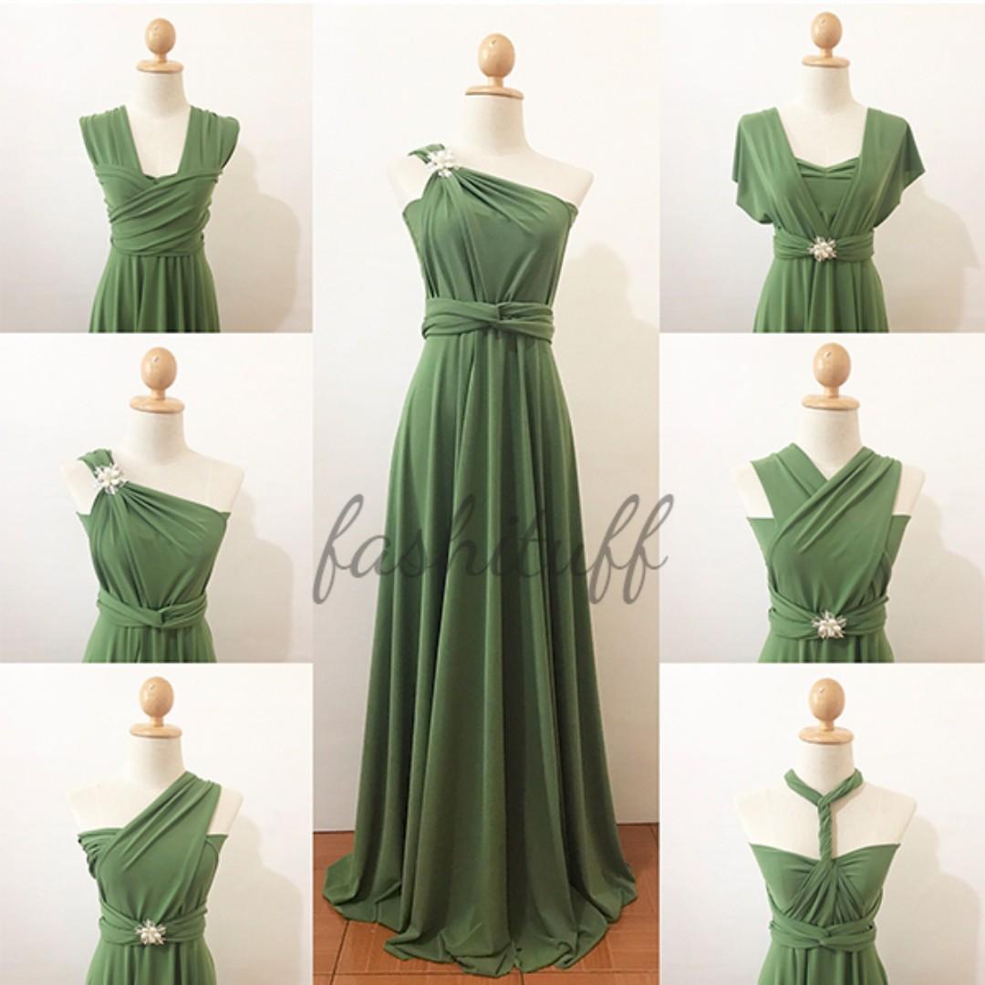Moss Green Infinity Dress / Convertible Wrap Maxi Dress, Preloved ...