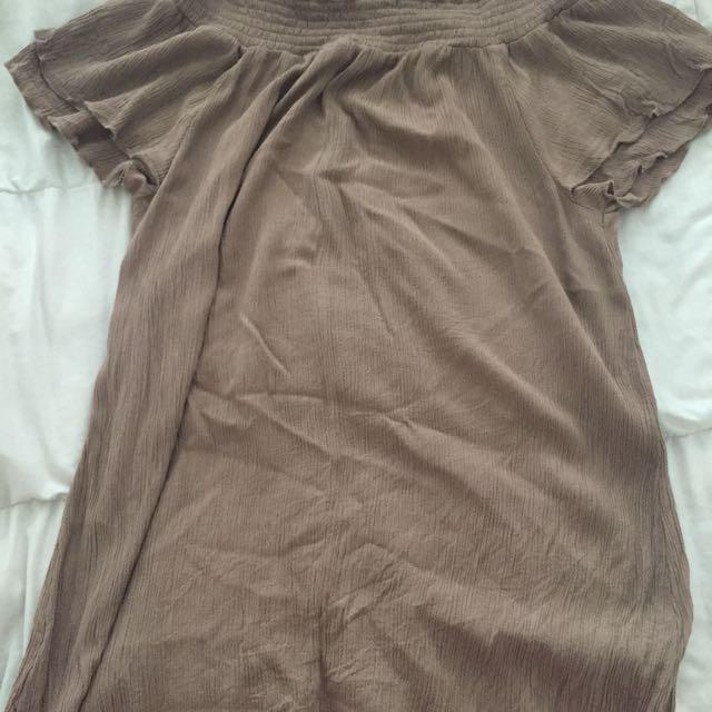 Nude Off The Shoulder Dress 💛
