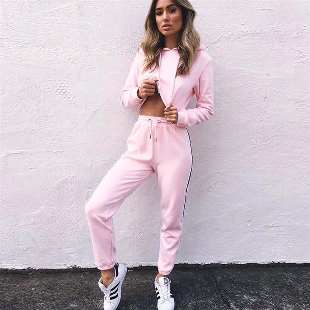 Pink crop jacket and pants