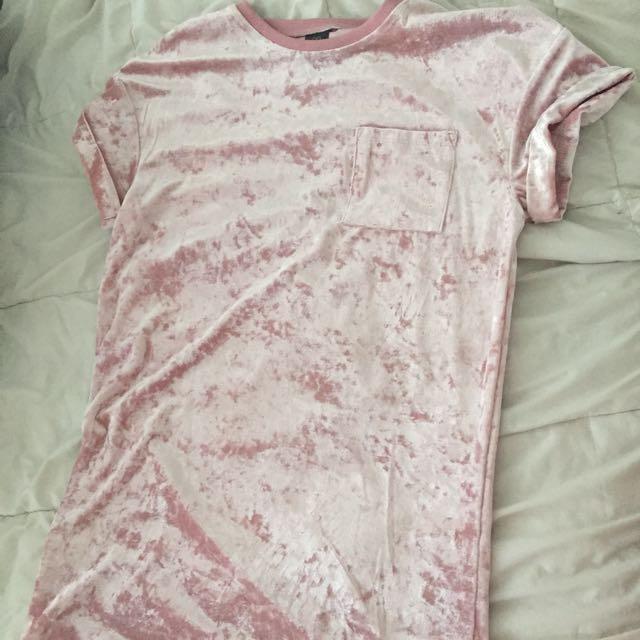 Pink Velvet Tshirt Dress 💕