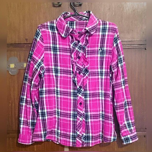 Plaid Long Sleeves- Fuschia Pink