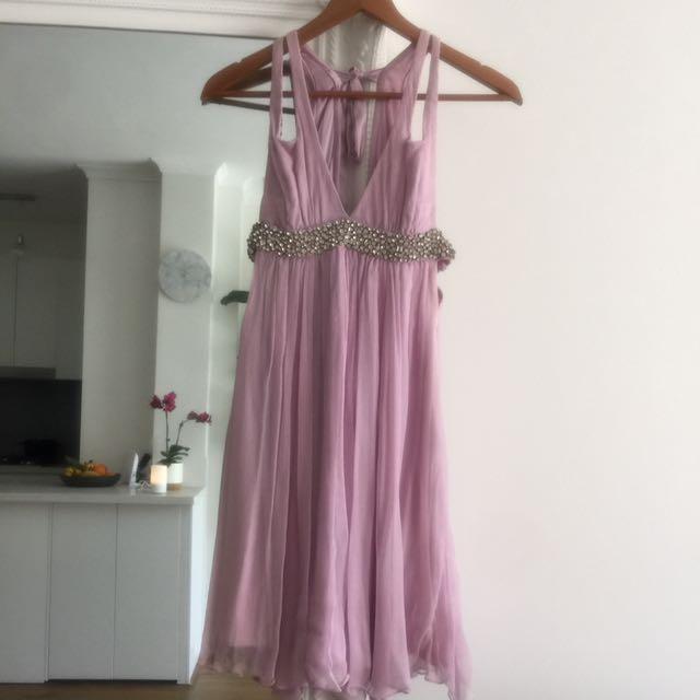 Rachel gilbert 100% silk sequin beaded dress