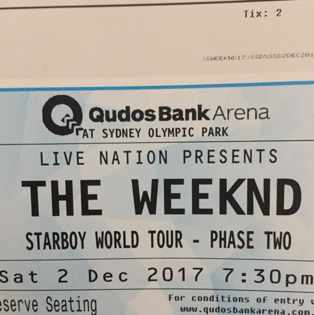 The weeknd tickets x2  SYDNEY