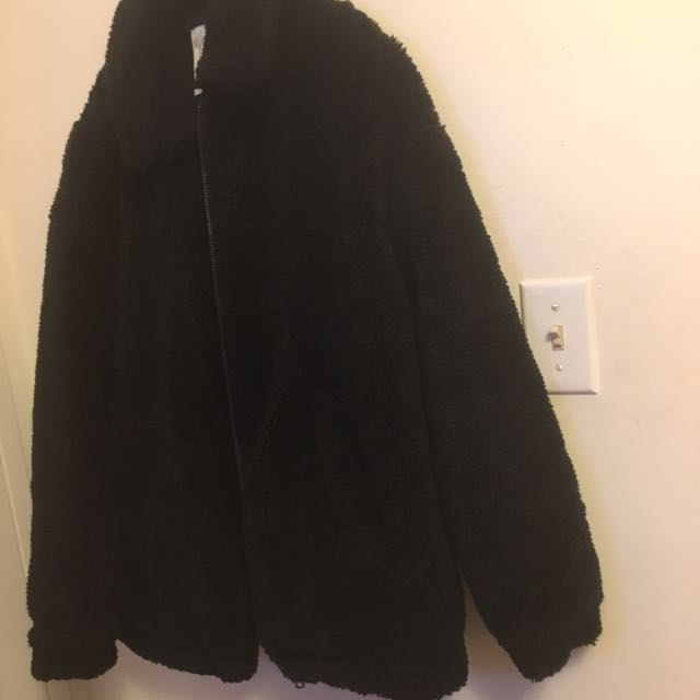 Urban Outfitters Sherpa Zip-Up Jacket-Black