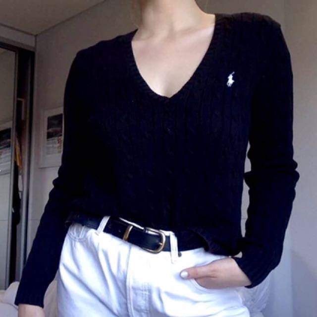 V neck polo knit