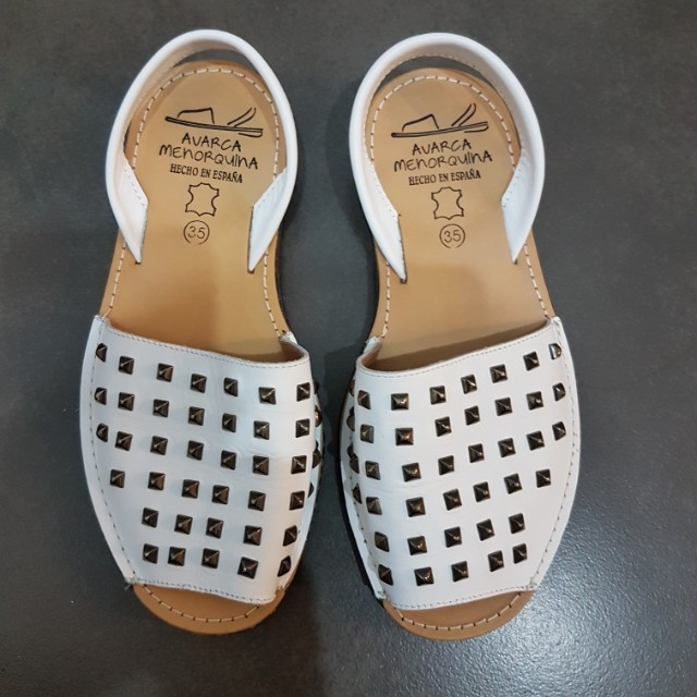 White Avarca Studded Sandals
