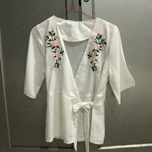 White Kimono Flower Blouse